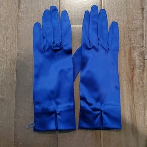 Vintage Blue Satin Gloves from Neiman Marcus